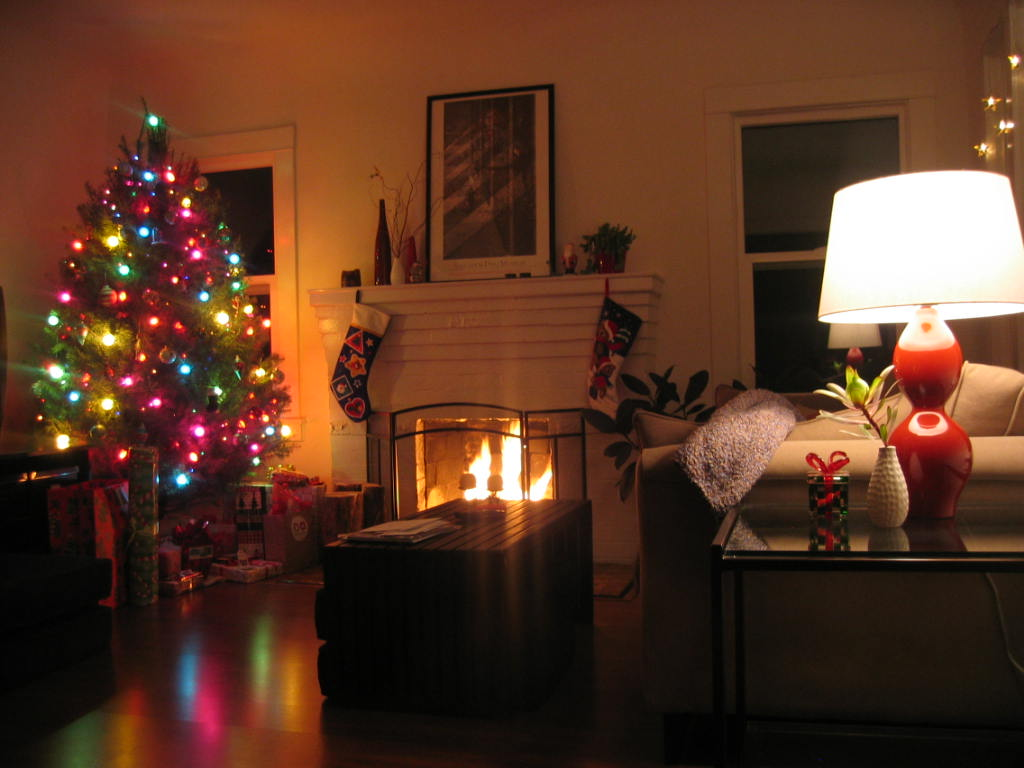 christmas living room evening
