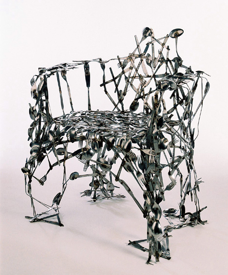 Chair made of cutlery