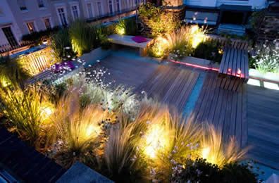 Roff Garden with spot lights