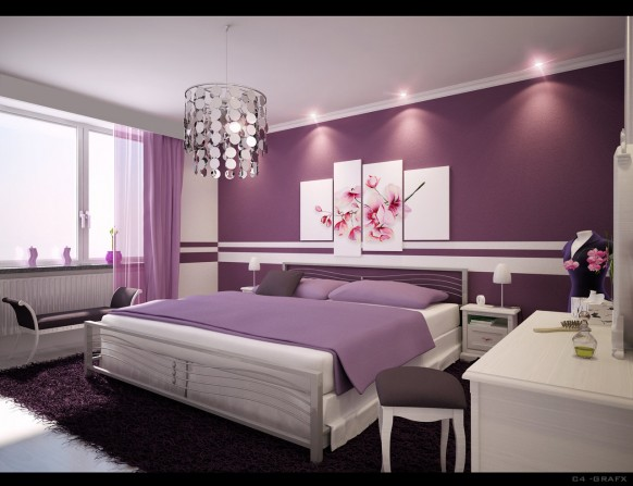 purple bedroom 582x447 Put some colour in your love life