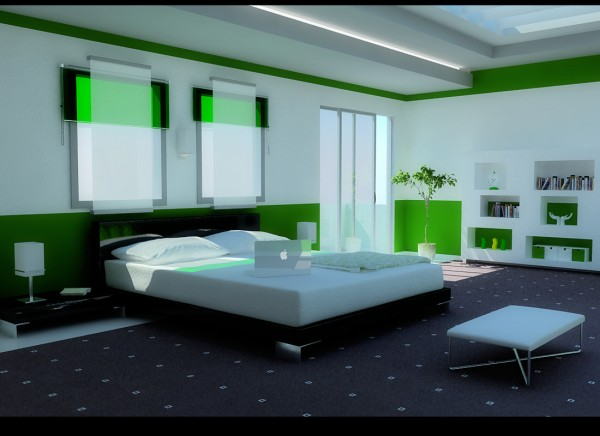 Forest Green Modern Bedroom