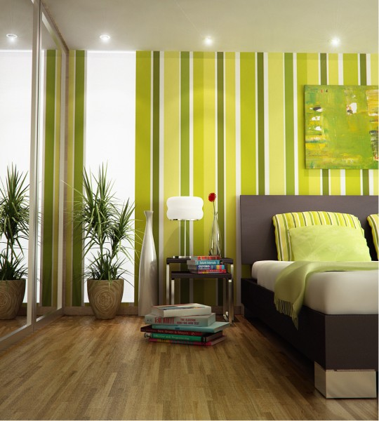 Green Yellow Stripes Bedroom