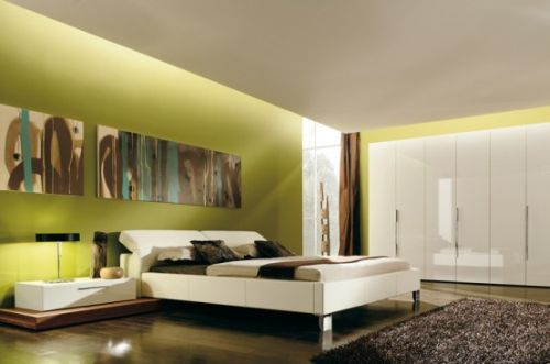 Abstract paintings in a bedroom