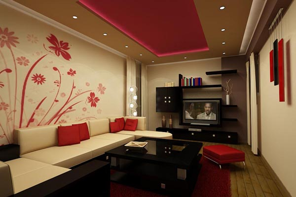 The Red Walls And Furniture Give The Above Living Room A Bold, Rich Feel.  The Painted Floral Wall Design Below Are A Creative Way To Add Whimsy To An  ...