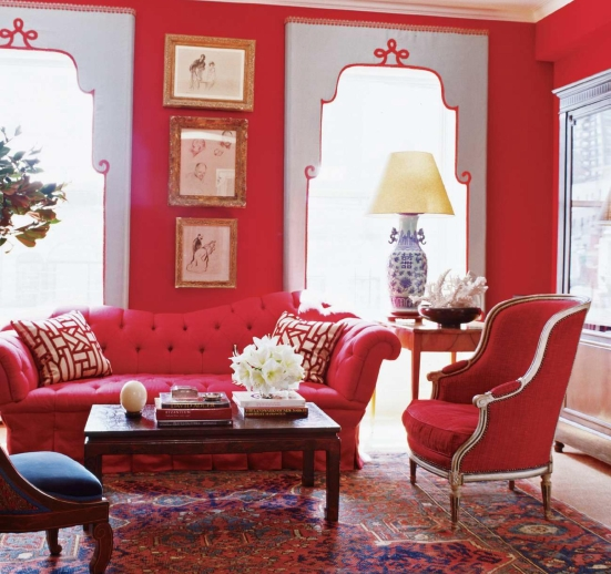 red luxury glamour living room scheme design decoration idea picture