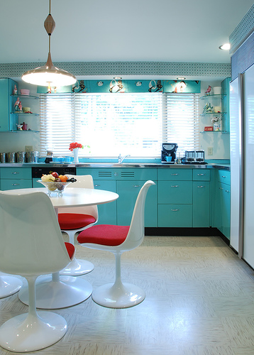 kitchen with turquoise cupboards