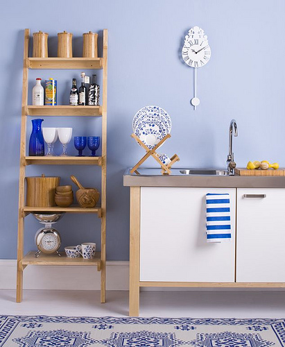 light blue kitchen