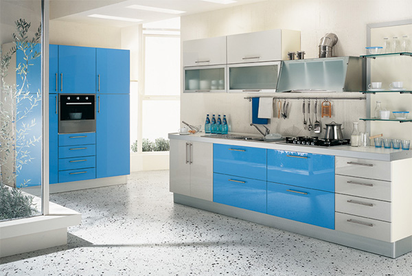 kitchen with blue cupboards