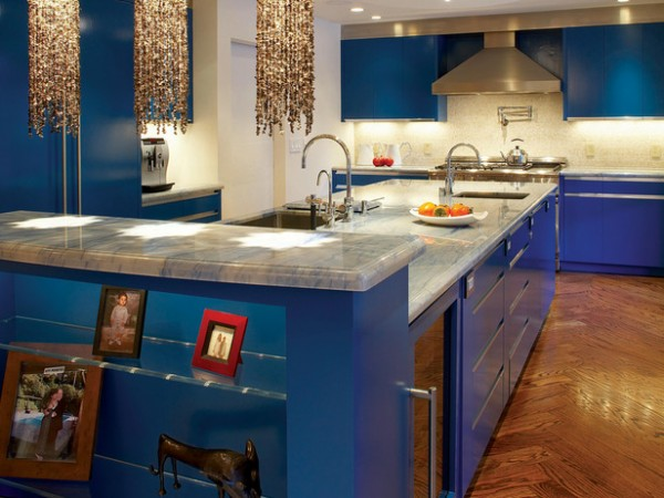 blue decor kitchen