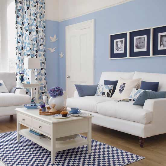 blue-ish living room