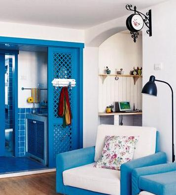 blue sofa and doors