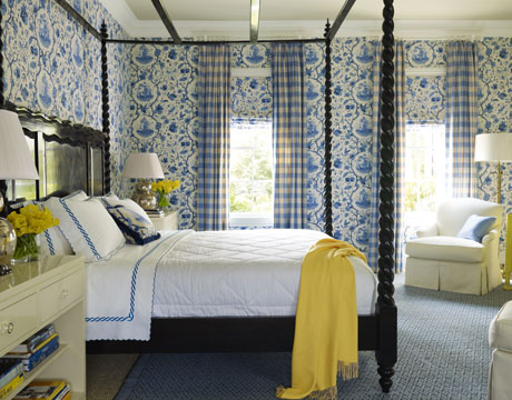 touch of blue in the bedroom