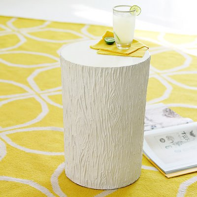 resin tree stump side table