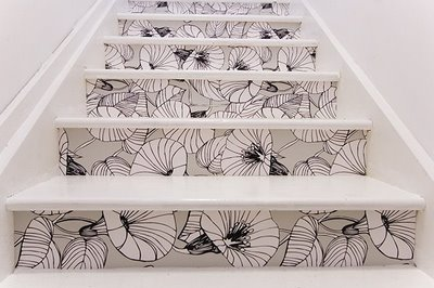 wallpaper on the stairs