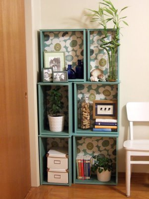 drawers repurposed as shelves
