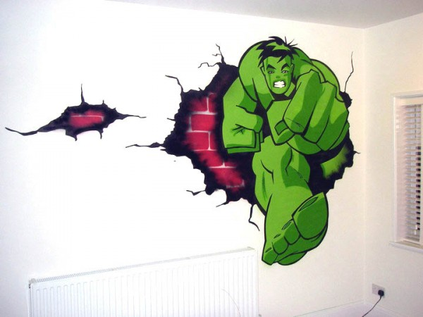 hulk graffiti bedroom wallpaper